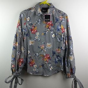 Nanette Lepore Embroidered Floral Striped Blouse